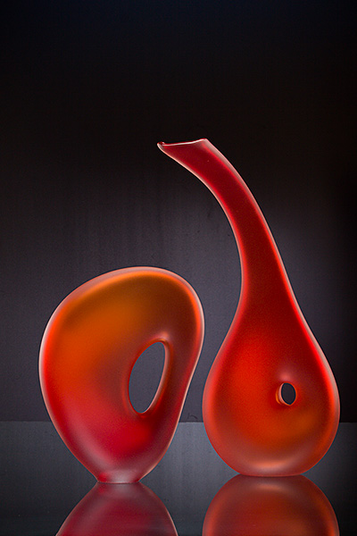 Scarlet glass sculpture