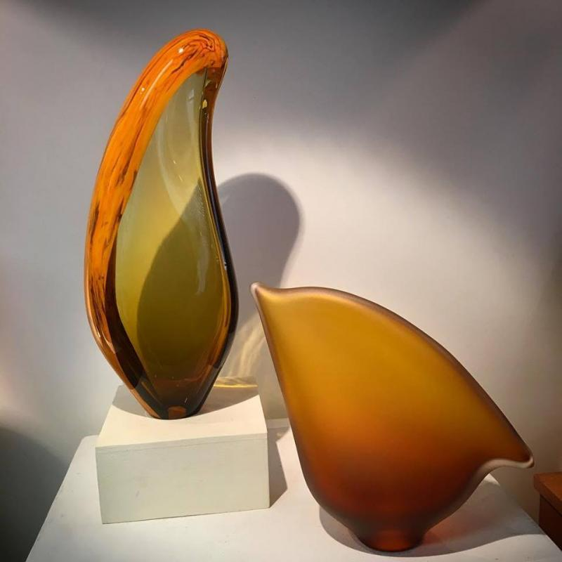 Glass yellow sculptures