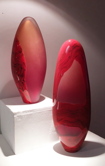 2 Red Art Glass Sculptures