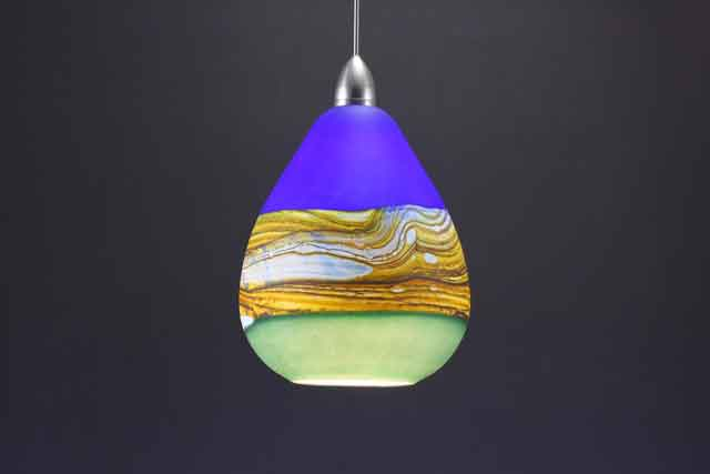 sage cobalt teardrop stata glass lighting pendant art glass pendant lighting