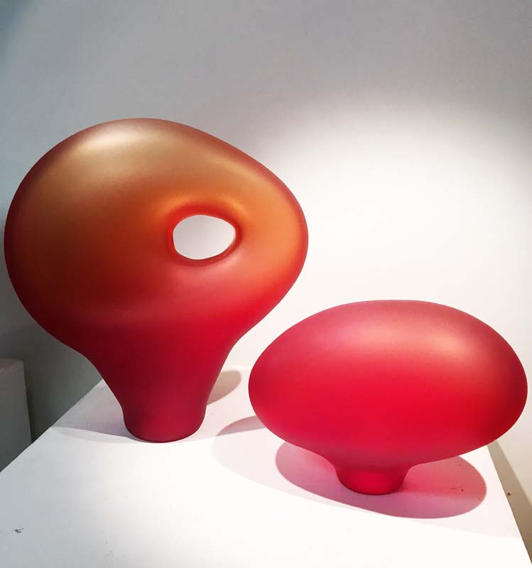 Contemporary art glass melange red sculptures