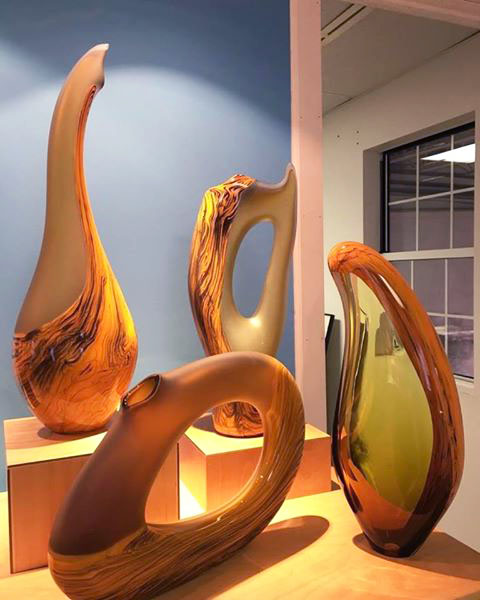 Contemporary yellow art glass sculpture