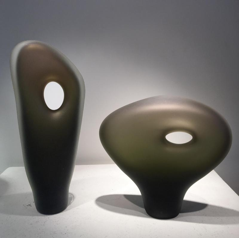 Small Glass sculptures bronze monolitos