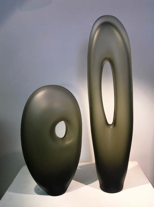 Tall Bronze Art Glass Sculptures